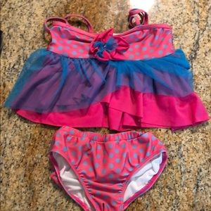 Pink & Blue Little Girls Swimsuit